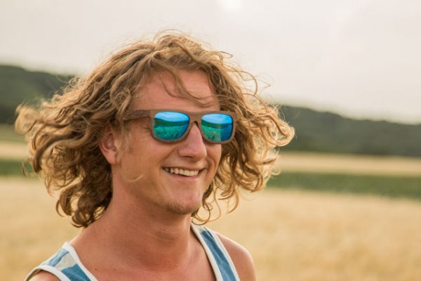 Wicked Ceres Wooden Sunglass in a Cornfield